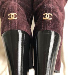 Chanel Suede Cap Toe Knee Boots